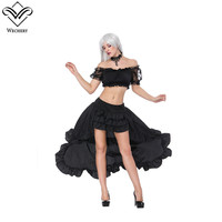 Wechery Ruffles Skirt Womens Black Long Skirts & Crop Tops Set Off Shoulder Lace Tube Top with Sexy Black Skirt Cosplay Shows