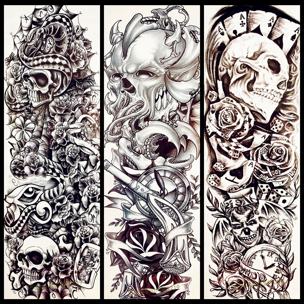 Tattoo Sleeve Stencils: 25 Design Poker Skull Temporary Tattoo Men Full Body Arm