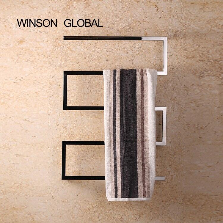Porte-serviettes électrique, 304 électrique en acier inoxydable porte-serviettes, tube carré, chauffe-serviette chauffant support de rail ICD60046