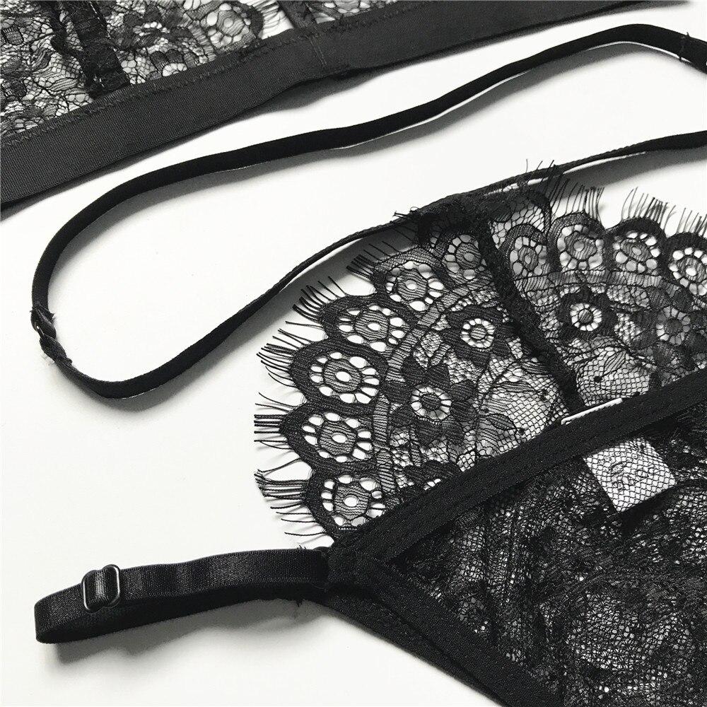 2018 Lace Sexy Bra Set Push Up Seamless Embroidery Bralette Lingerie Eyelash Hollow Out Transparent Women Underwear Set