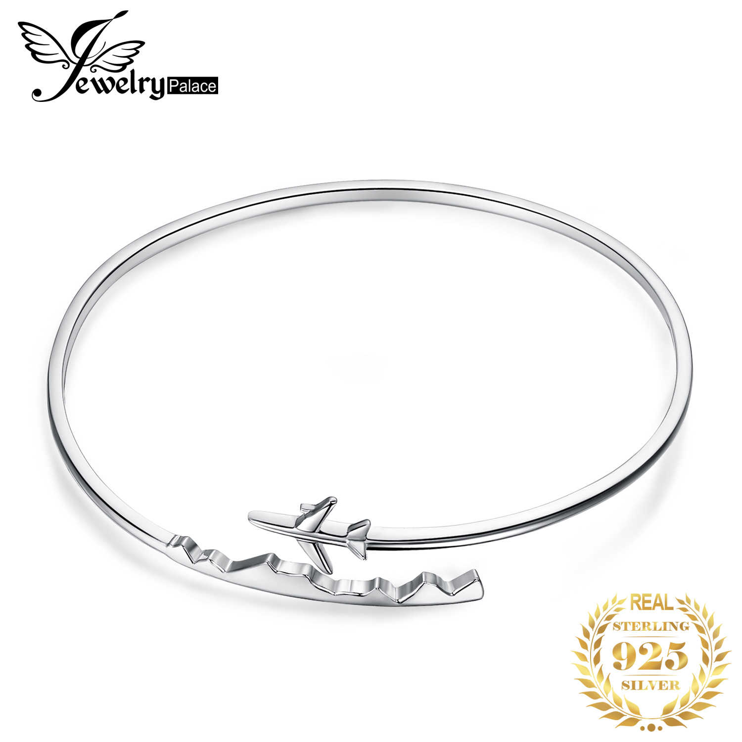 JewelryPalace 925 Sterling Silver Bracelets Airplane Adjustable Open Bangle Bracelet Jewelry for Women