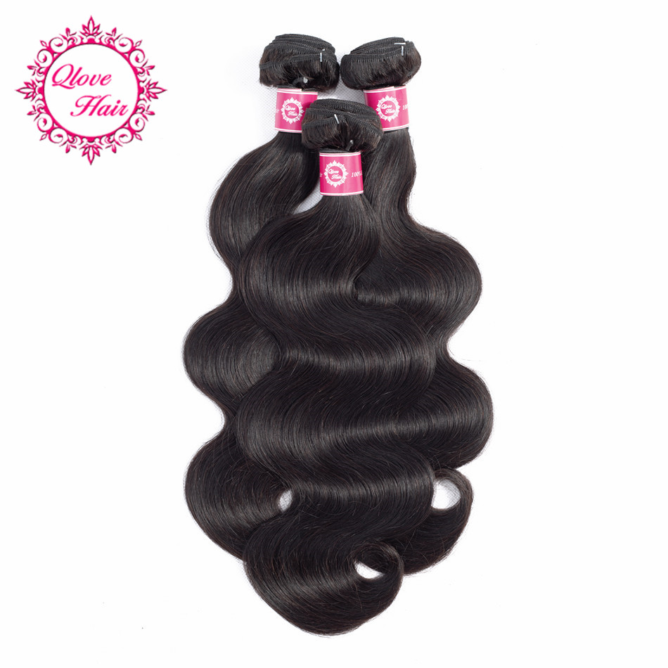 QLove Pre-colored 100% Human Hair 3 Bundles Non Remy Body Wave India Hair Bundles In Extension Natural Color Hair Weave