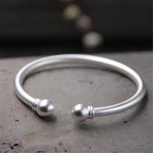 цены New Wedding Jewelry 999 Sterling Silver Open Cuff Bracelets Simple Double Silver Ball Beads Adjustable Bangles Women