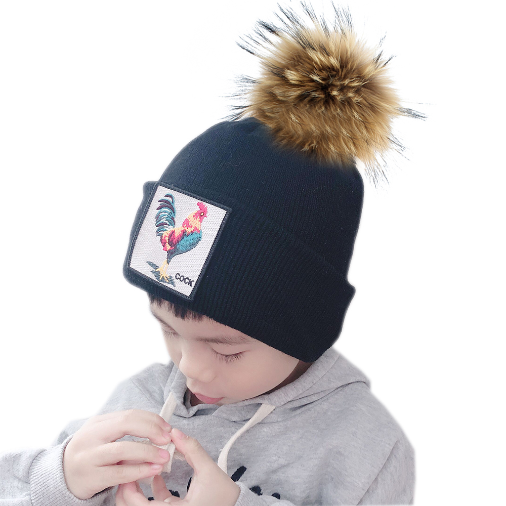 New Cartoon Cock Animal Beanie Cap Kids Winter Hats Girls Boy Real Fur Pompom Hat Thick Knitted Warm Hats For Children
