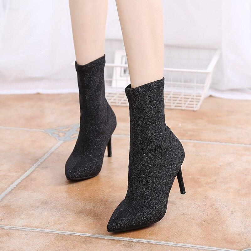 Mujeres Alto Tacón Las Moda De Mujer Nb231 Simple Black Punta Salvaje Tobillo Zapatos Botas Cxpxq16F4w