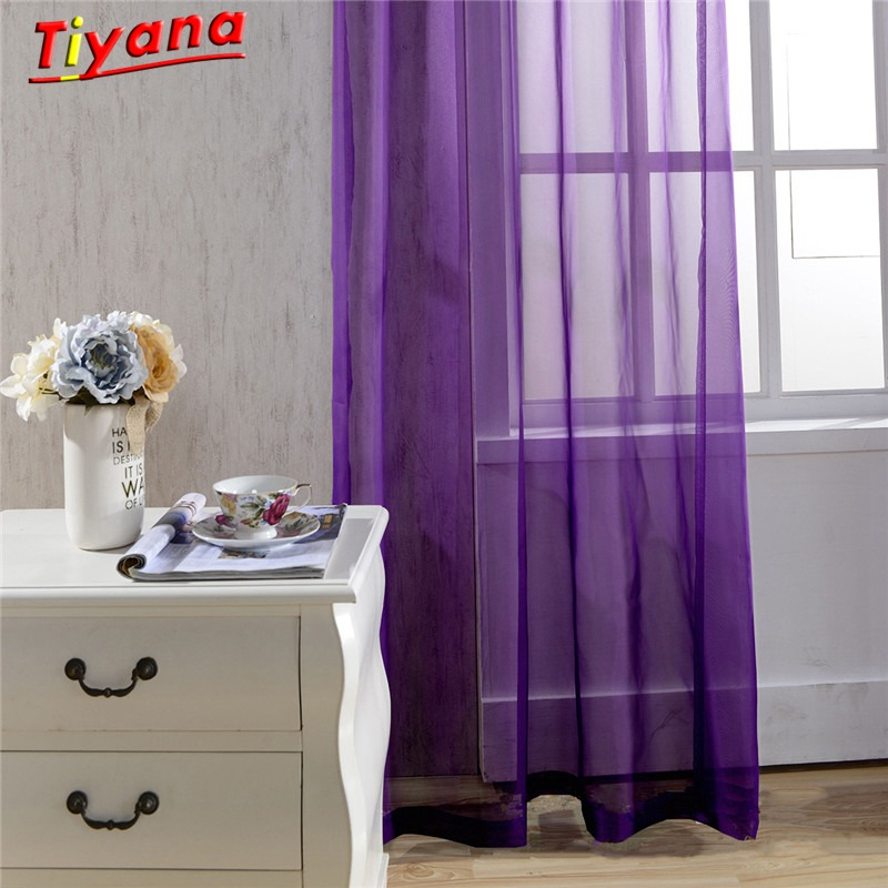 Pure Sheer Curtain White Tulle Curtain Red Window Treatment Purple Panel Yellow Voile Tulle Kitchen Curtain Hot Sale WP184a *20