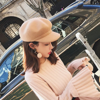 2018 Autumn Winter Wool Cap Fashion Beret Newsboy Hats for Women Octagonal Cap Woman Hat Winter Painter's Hat Letter M