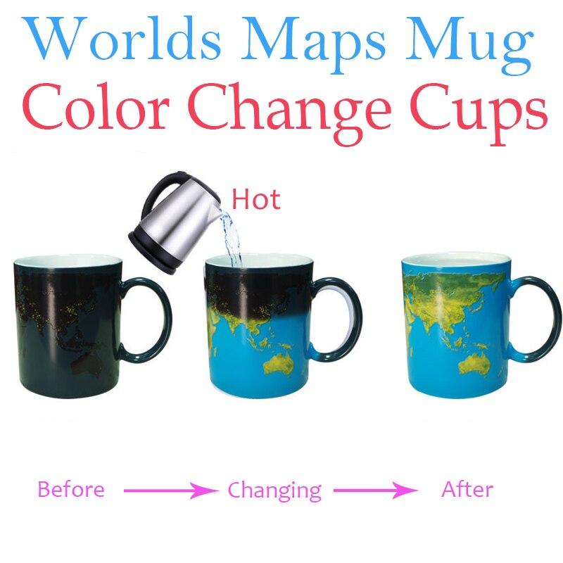 עולמות מפות ספלי שינוי צבע כדור הארץ לילה קרמיקה ספל קפה כוס משקה גלובוס עולמות מפות מתנות יצירתי אוקיינוס כחול קסם ספלי