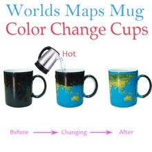 ФОТО Worlds Maps Color Change Mugs Earth Night Mug Ceramic Coffee Drink Cup Globe Worlds Maps Creative s Drop