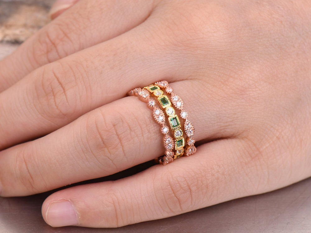 3pc Emerald wedding ring set FULL eternity ring 925 sterling silver ...