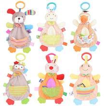 Мультяшные детские игрушки-полотенце, милые хлопковые удобные животные, полотенце, спокойная кукла, прорезыватель, игрушка, Успокаивающая кукла для младенцев