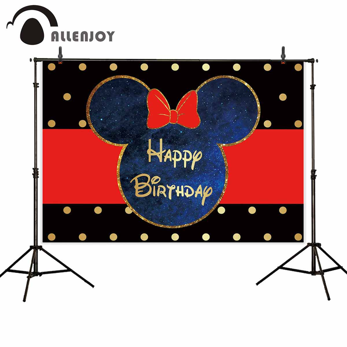 Allenjoy Backdrops Photography Mouse Golden Child Birthday Custom Photocall Backgrounds For Photo Shoots Photobooth Photophone