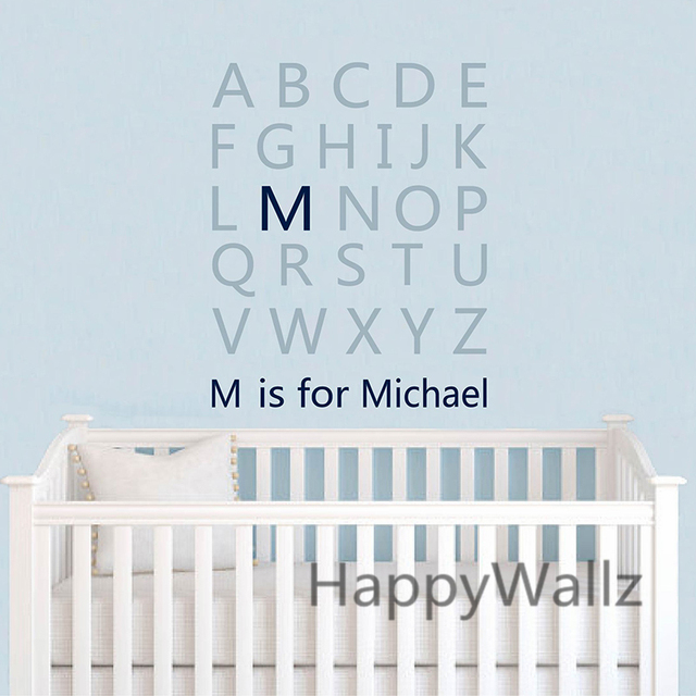 Baby nursery custom name letters wall sticker diy alphabet name wall decal kids room children wall