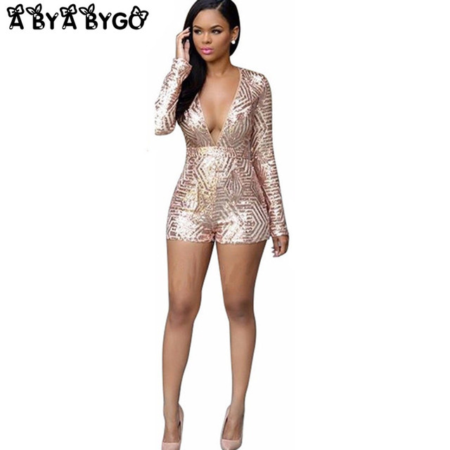 b4350545dd1d ABYABYGO Sexy Overalls Rompers Women Bodycon Jumpsuit Shorts Sequin Long  Sleeve Catsuit Salopette Jumpsuit Beyonce Body Suit