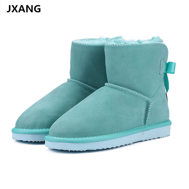 JXANG Fashion nature Genuine leather fur lined girls short ankle  snow boots for women winter shoes flats Size 34-44
