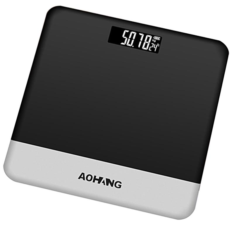 LUOEM Bathroom Scale Noble Silver Electronic with Tempered Right Angle Glass Balance Platform and Advanced Step-On Technology