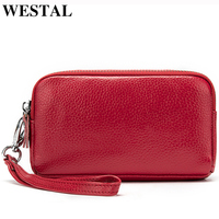 WESTAL Small Wallet Purse for Women Wallet Genuine Leather Zip Coin Purse Leather Women Wallets with Strap Money Wallets 008