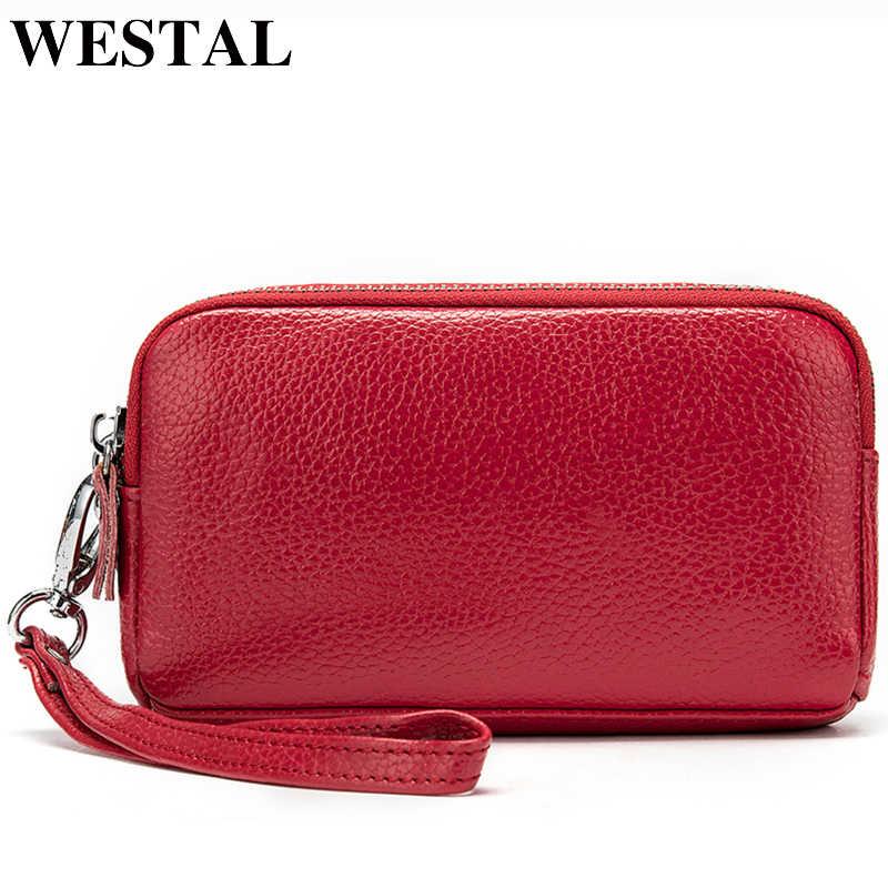 WESTAL маленький бумажник, кошелек для Для женщин кошелек из натуральной кожи Zip кожаный кошелек для монет Для женщин кошельки с ремешком бумажники 008