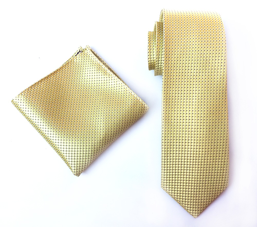 Классический галстук 8 см формальный галстук с желтыми клетчатыми платками