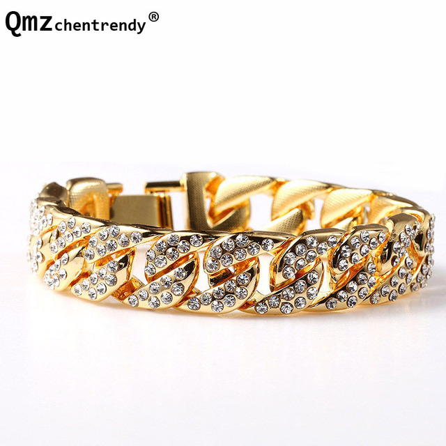 Hip Hop Men s Luxury Simulated Gemstone Fashion Bracelets Bangle High  Quality Gold Bling Iced Out Miami Cuban CZ Bracelet Women 7c1c585f50c4