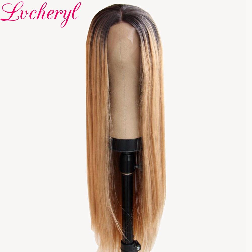 Lvcheryl Handbundet Ombre Brun Till Blond Färg Lång Rak Typ - Syntetiskt hår - Foto 1