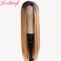 Lvcheryl Hand Tied Ombre Brown To Ash Blonde Color Long Straight Heat Resistant Fiber Hair Synthetic Lace Front Wigs