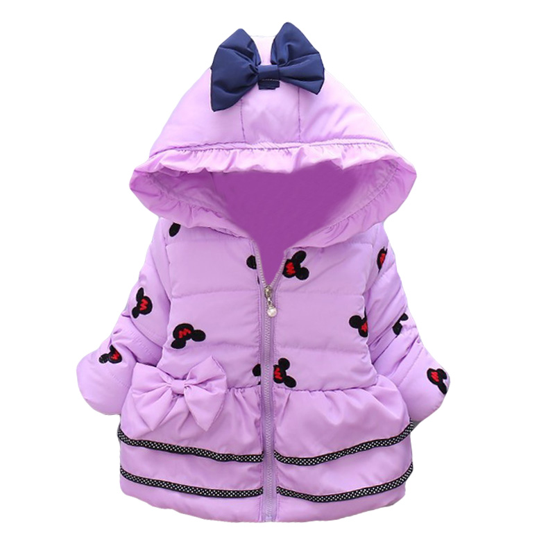 2017 New Minnie Baby Girls Jacket Kids Winter Cartoon Lovely Keeping Warm Coat Children Cotton Fashion Hooded Thick Outerwear