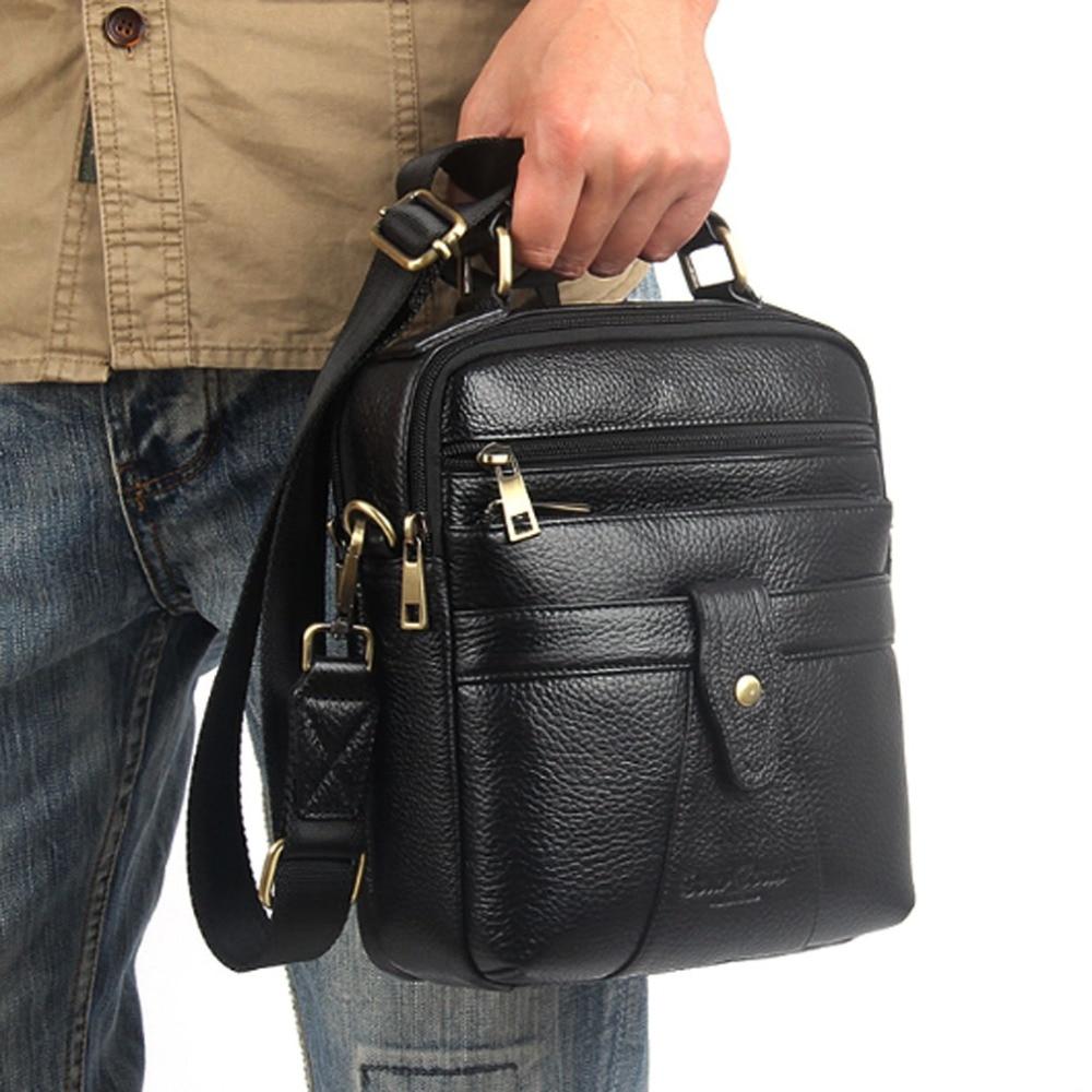 Vysoce kvalitní Pánské hovězí kůže pravé kůže Messenger ramena přes tělo taška Casual Business Pack módní Tote HandBag