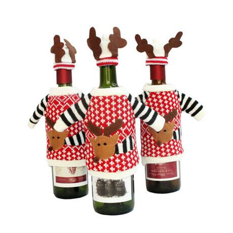 Christmas holiday knitted bottle cover santa eik suit wine for Wine bottle material