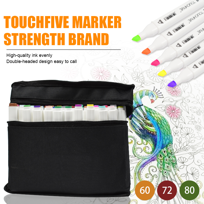 Touchfive 30/40/60/80/168 Colors Pen Marker Markers Pen Oily Alcoholic Sketch Marker Brush Pen Animation Design Art Supplies touchfive marker 60 80 168 color alcoholic oily based ink marker set best for manga dual headed art sketch markers brush pen