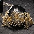 Позолоченные чистый ручной работы цветок люкс повязка невеста тиара свинца имитация жемчужные украшения для волос свадебные украшения для волос