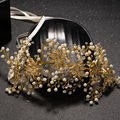 Banhado a ouro puro handmade headband da flor de noiva tiara de noiva chumbo pérola simulada cabelo ornamento do cabelo do casamento jóias