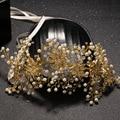 Chapado en oro puro hecho a mano flor de la venda nupcial de la novia tiara plomo perla simulada joyería del pelo pelo de la boda ornamento