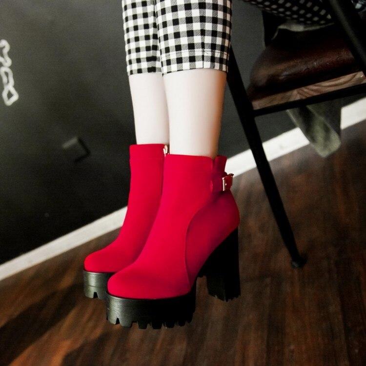 Moda Tamaño Zapatos 72 Negro Otoño 43 Motocicleta Cuero Bota Calidad 2015 Invierno Mujeres Softs Alta S rojo Mujer Botas 35 pzRW1xwIq