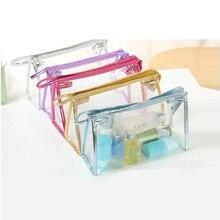 New Transparent Waterproof PVC Cosmetic Bag 2017 Envelope Receive Toiletry Bags Makeup Bag Organizer 5 Colors To Choose ^12