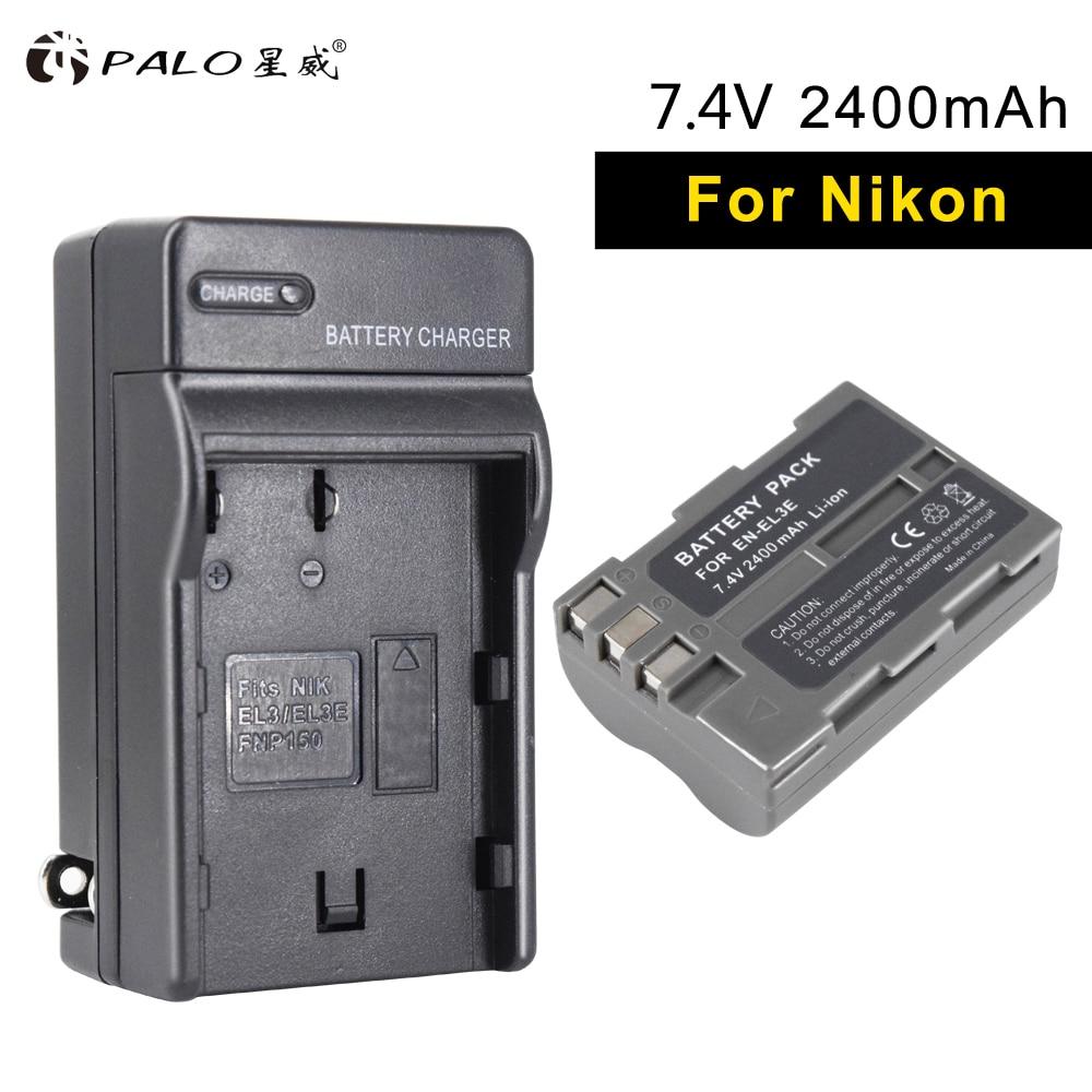 PALO 1 stücke 2400 mah EN-EL3E li-ion digital kamera akku + lade EL3Efor NIKON D700 D300S D300 D200 D100 D90 d80 D80S D70 D70S D50