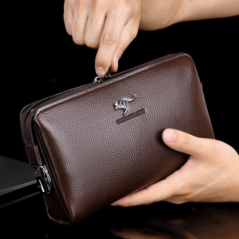 Business Men's Clutch bag Large Capacity Password Lock Open Long Leather Men Wallets Purse Handbag Card Holder Phone Wallet 2018 genuine leather men business wallets coin purse phone clutch long organizer male wallet multifunction large capacity money bag