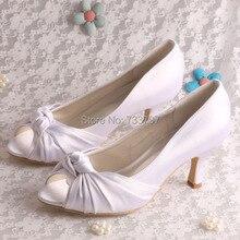 Последний Стиль Атласа Свадебные Туфли Дамы На Высоких Каблуках Peep Toe Белый Челнока