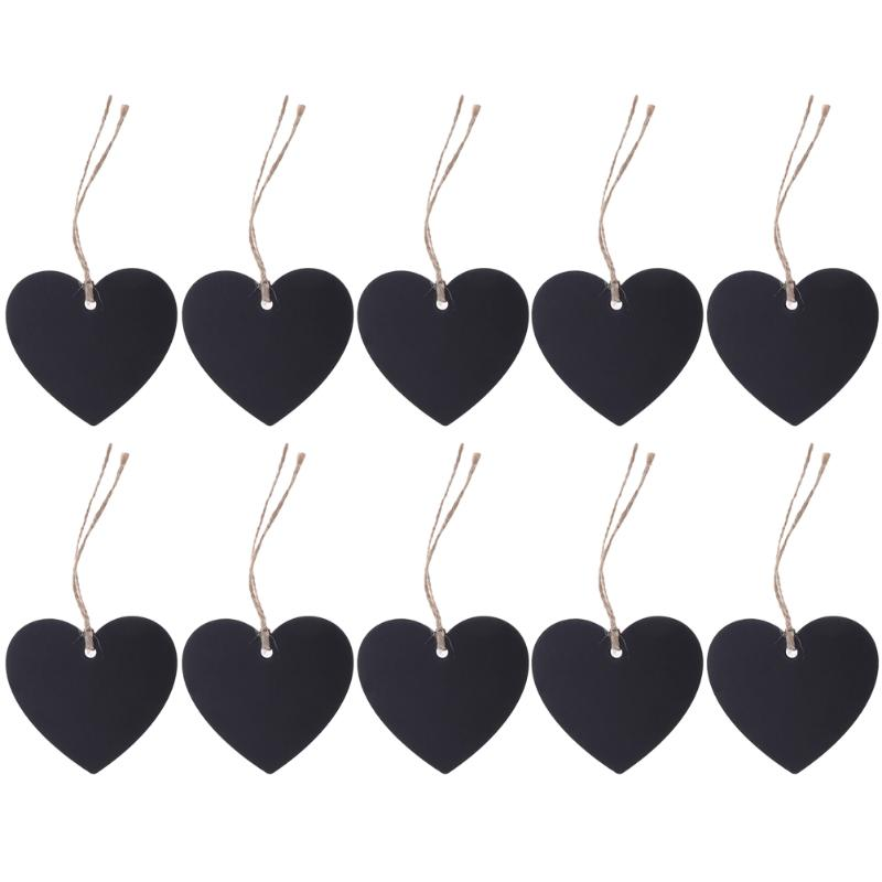 10Pcs Mini Blackboard Pendant DIY Double Side Heart Shaped Wood Black Board Chalkboard Home Furnishing Decor