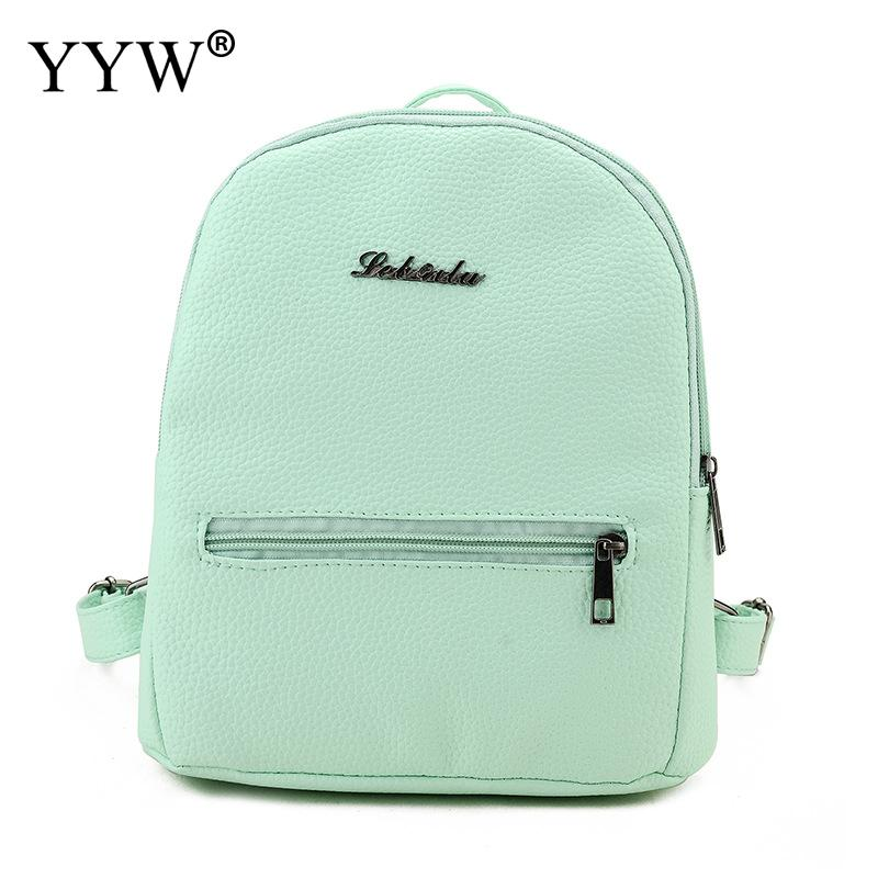 Girl Backpack Shoulder-Bag College High-Quality Fashion Sweet Pu Wind Candy-Color Small