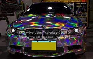 Image 2 - Премиум Серебряная Лазерная пленка для автомобиля, голографическая Радужная наклейка для стайлинга автомобиля, черная, серебристая Хромовая виниловая пленка, образец, бесплатная доставка