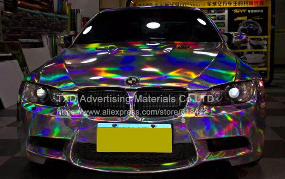 Image 2 - Premium Silver Laser car wrap film holographic Rainbow Sticker Car styling film black silver chrome vinyl sample Free ship-in Car Stickers from Automobiles & Motorcycles