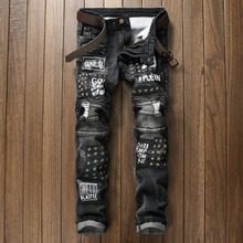 Brand clothing High-quality fashion personality stretch jeans America style draped patchwork rivets locomotive jeans men 29-38
