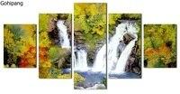 5 peça da arte da lona cachoeira imagem cuadros hd impresso pintura da lona moderna para a decoração da cozinha modular wall art poster