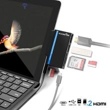 Rocketek usb タイプ C 2.0 メモリカードリーダーまたはハブ 4 HDMI アダプタ sd 、 TF マイクロ SD Microfoft 表面行くコンピュータアクセサリー