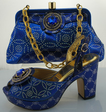 Newest Design Matching Shoe and Bag Italy African Wedding Shoe and Bag Sets  Blue Italy Shoe and Bag Set Decorated with Diamonds 7cff22ca6937