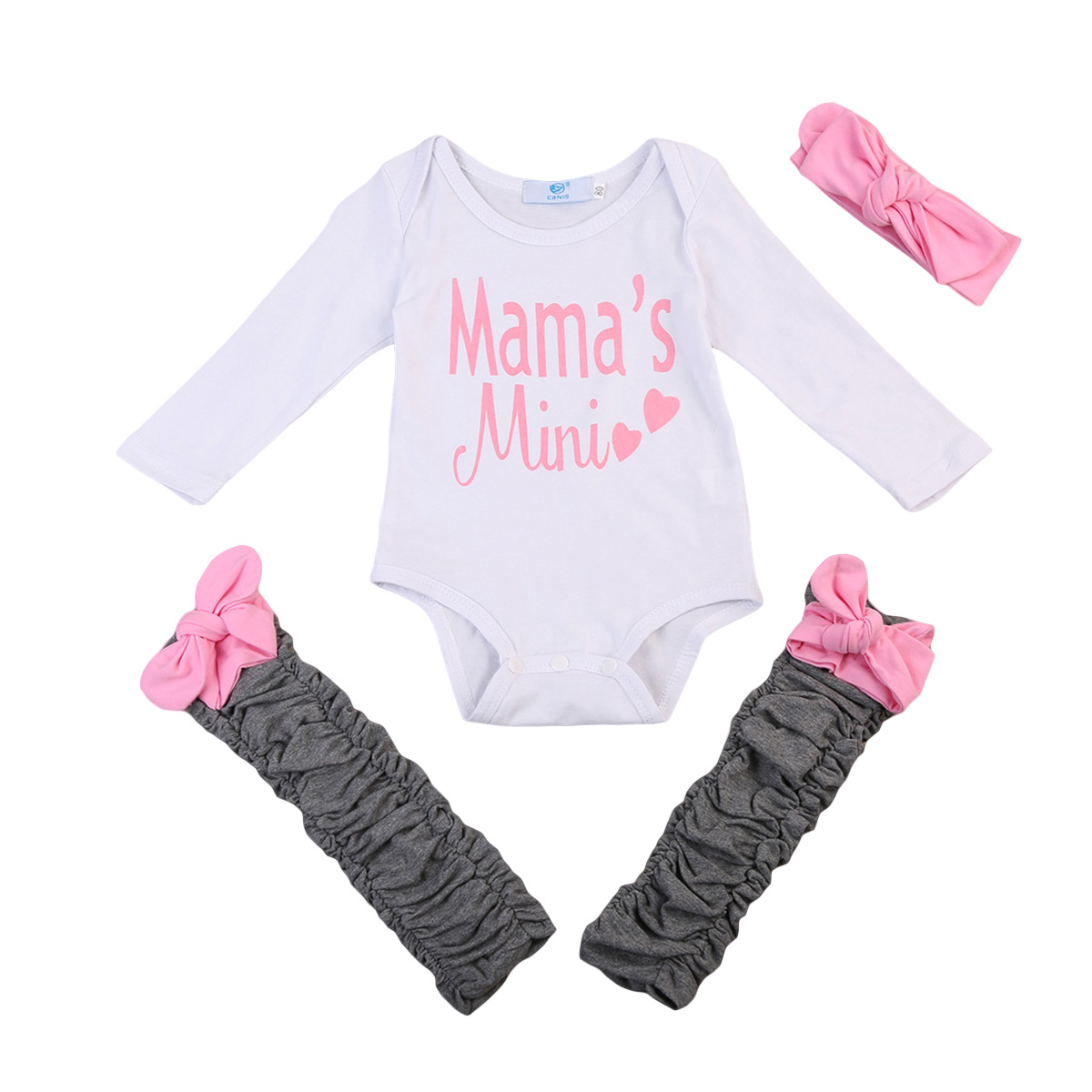 0 to 24M Newborn Baby Girls Clothes Long Sleeve Romper Leg Warmers Headband Outfits 3PCS Baby Clothing Set
