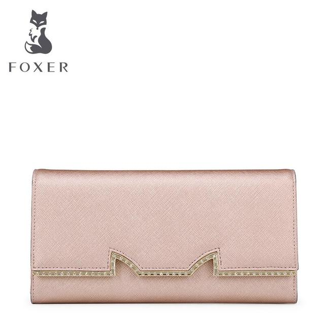 FOXER   Famous brand top quality leather women bag  2016 new fashion money clip Sanzhe hasp