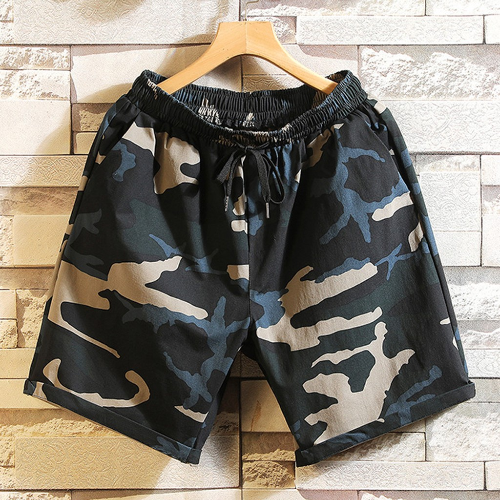 Men Shorts Camo Printed Sports Short Pants Beach Short Trousers