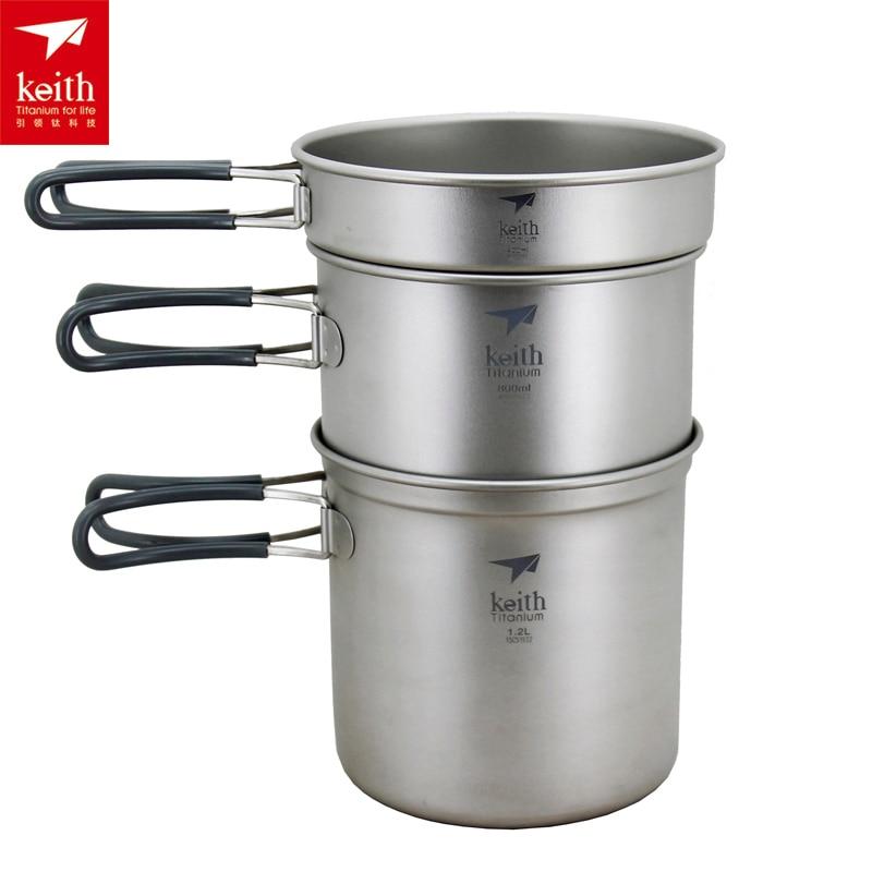 Keith Titanium Pot Camping Cookware Titanium Cookware Ti6012/Ti6018 keith titanium kettle camping picnic cookware pot silver grey